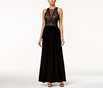 Nightway Petite Lace-Illusion A-Line Gown, Black