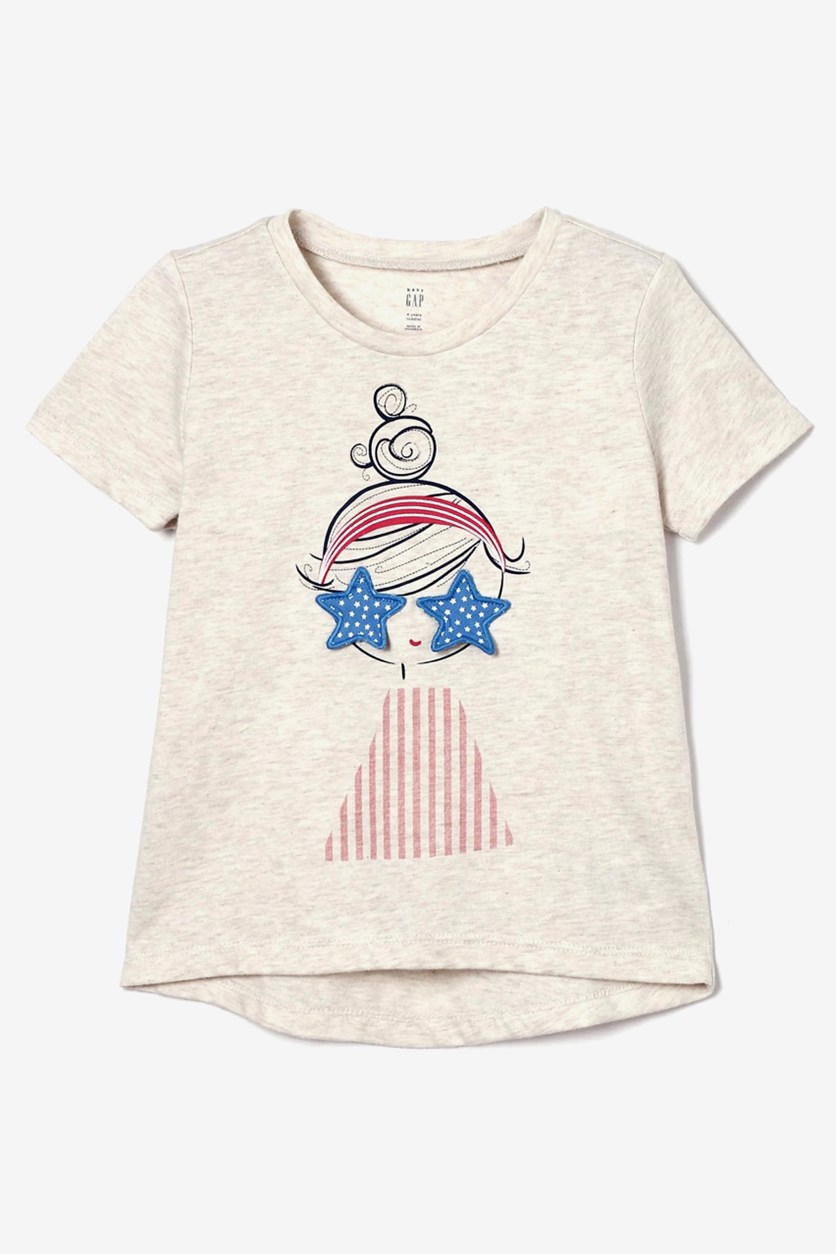 Toddler's Graphic Print Top, Beige