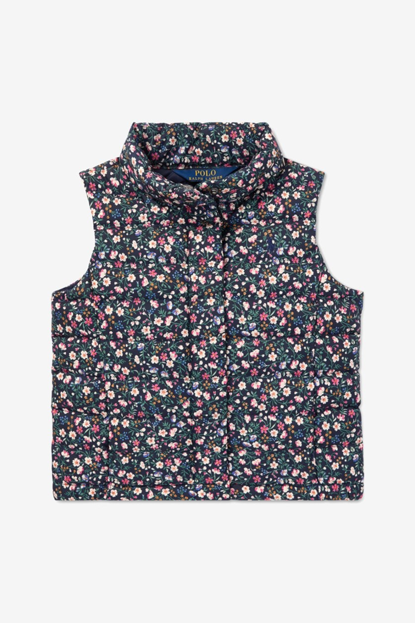 Toddler Girls Floral-Print Puffer Down Vest, Navy Combo