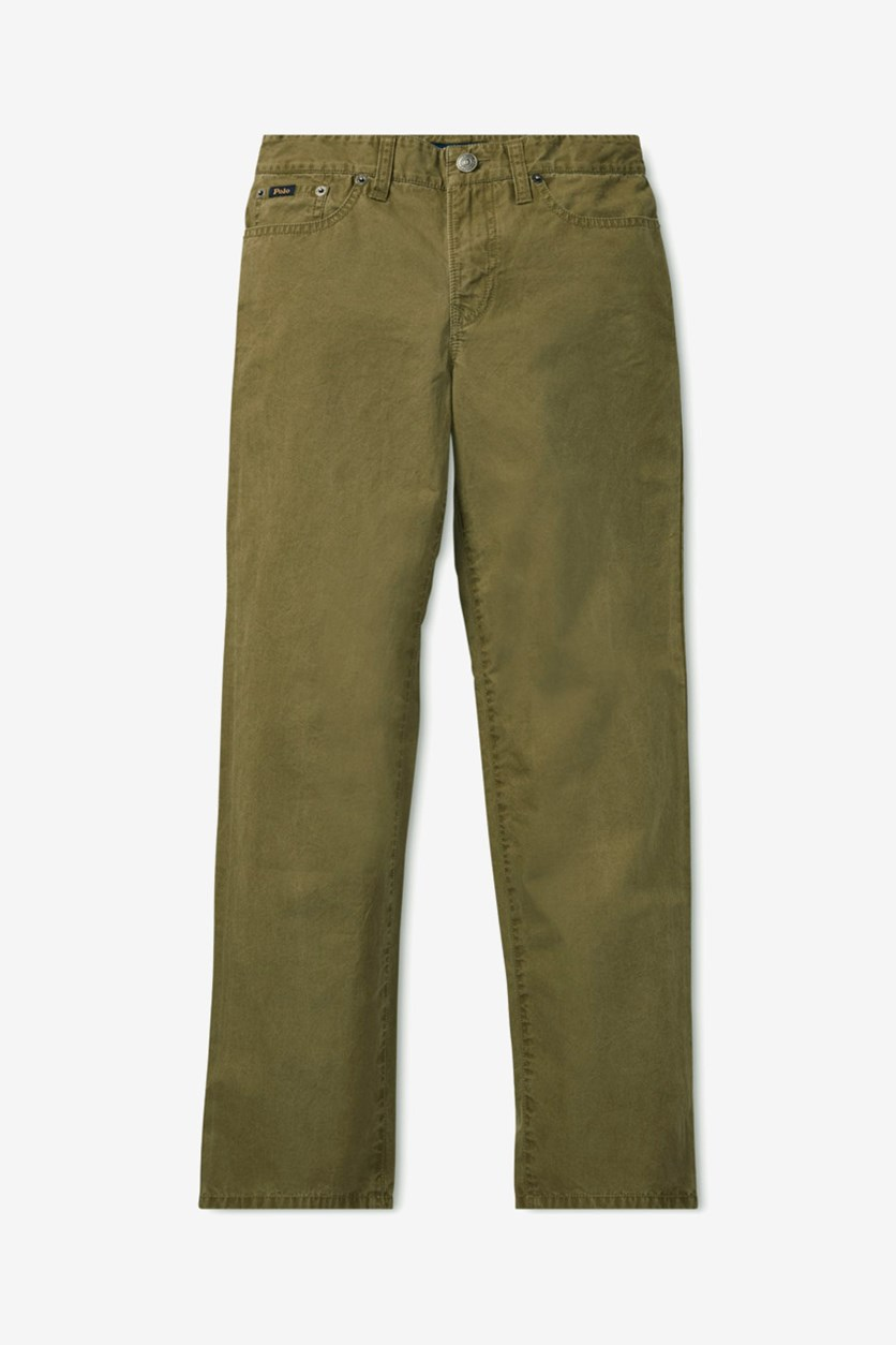 Boys Five Pocket Slim Fit Pants, Olive