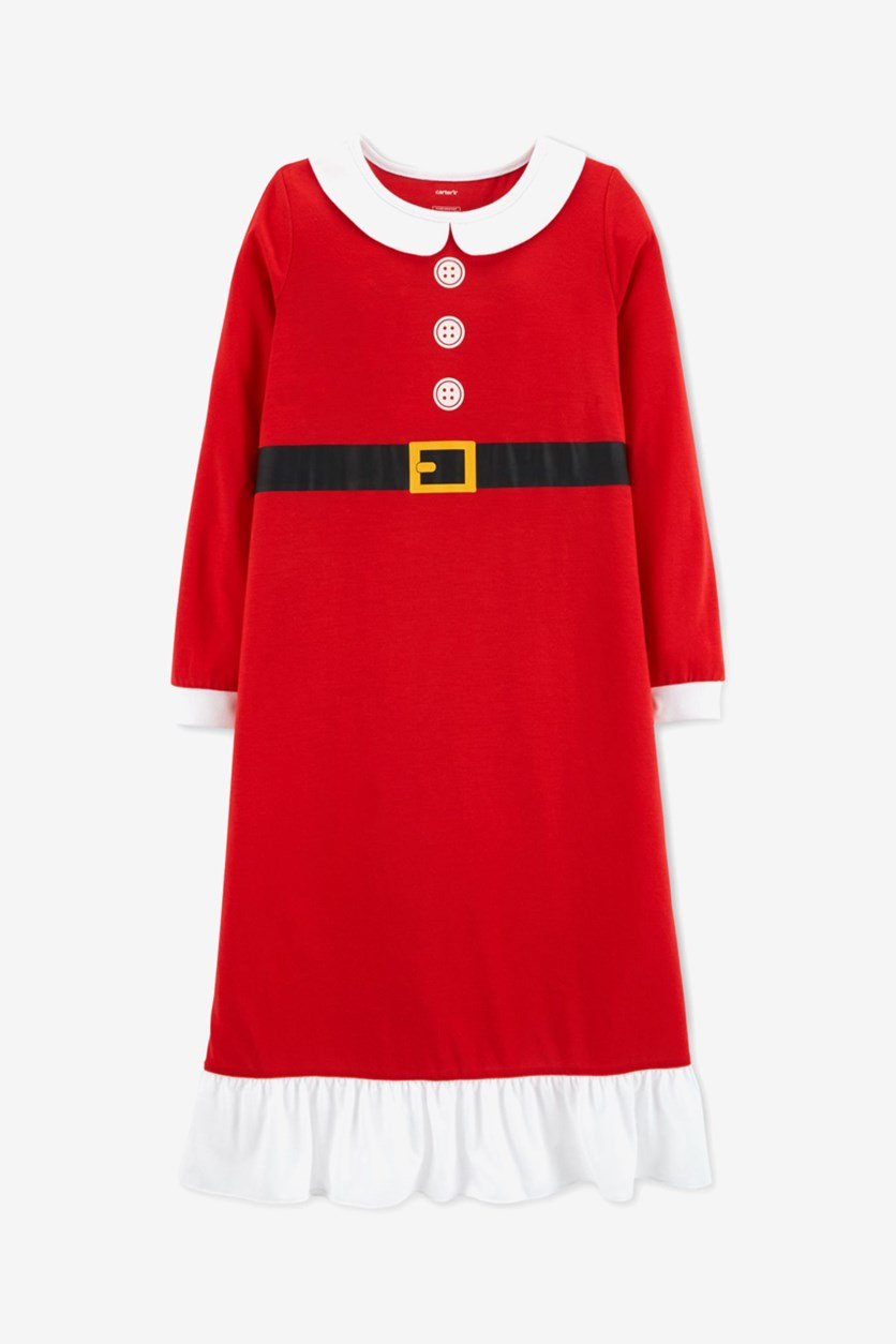 Toddler Girls Mrs. Claus Nightgown, Red