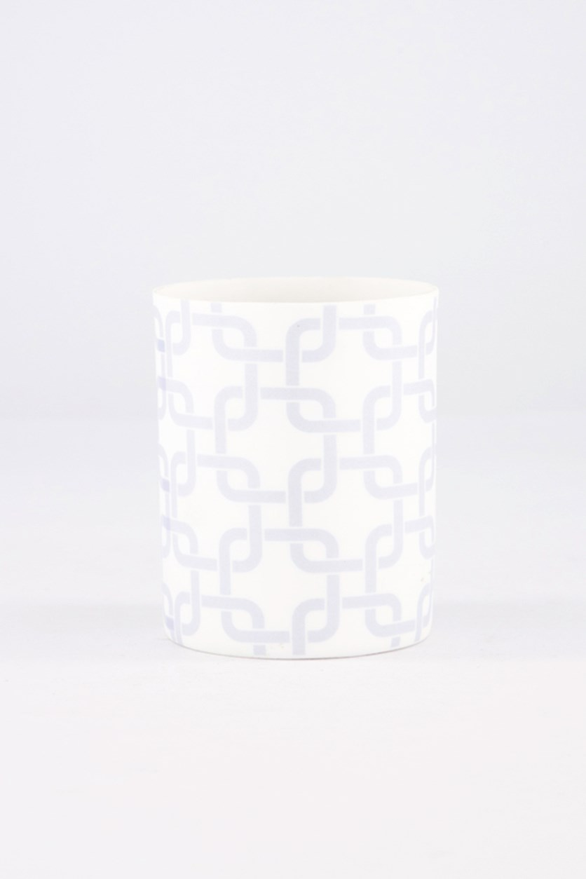 Square Print Tealight Holder, White/Blue