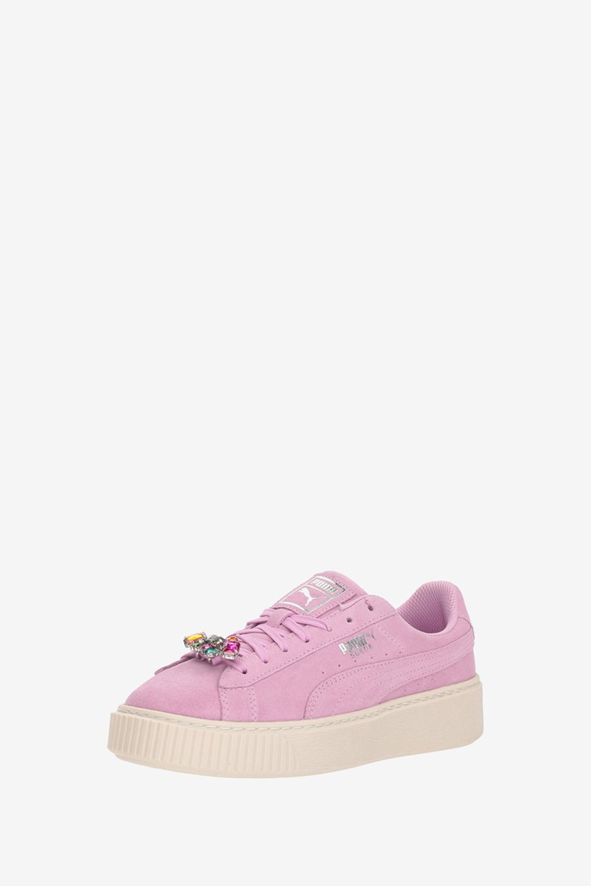Kids Girl's Suede Platform Jewel Casual Shoes, Orchid