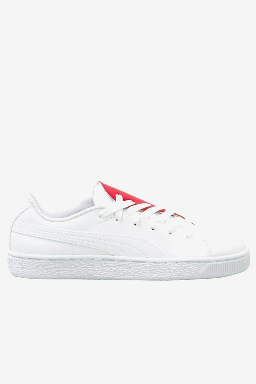 Women's Basket Crush Shoes, White/Red
