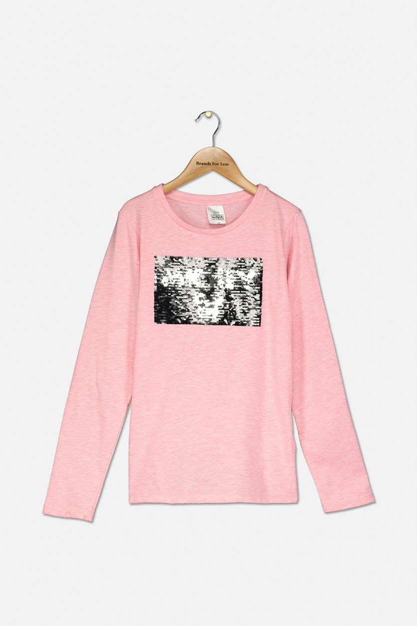 Kids Girls Sequins Details Top, Pink