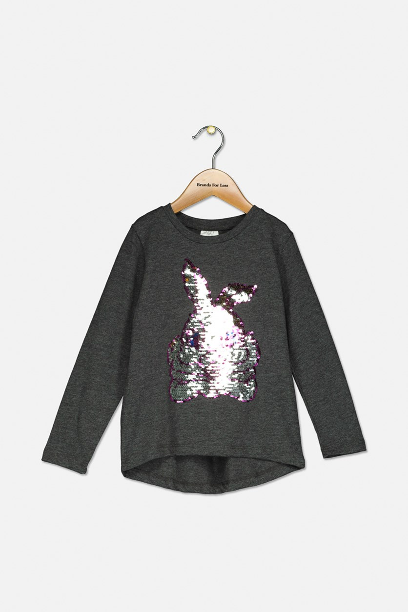 Toddler Girls Sequins Details Print Top, Dark Grey