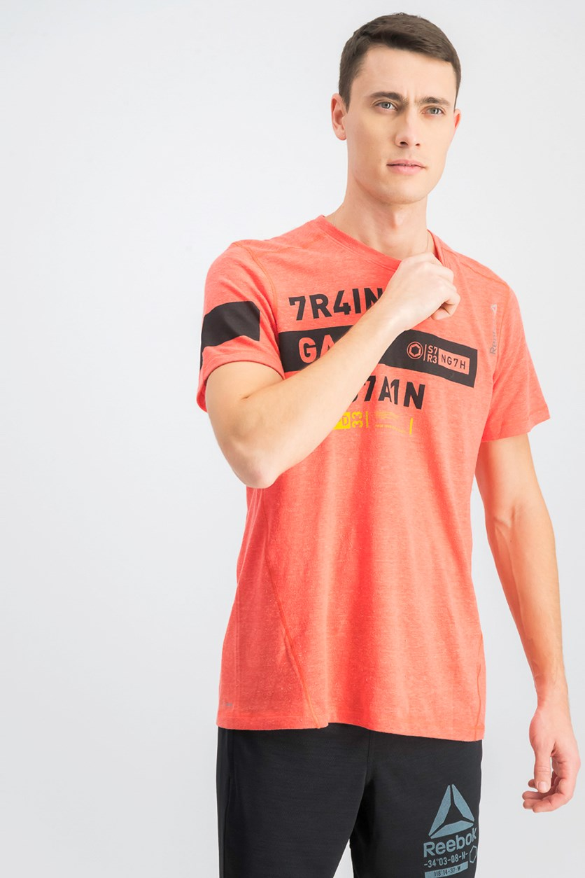 Men's Triblend Graphic T Shirt, Orange