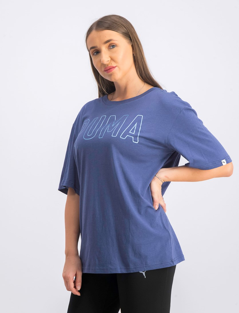 Women's Fusion Elongated Tee, Blue Indigo