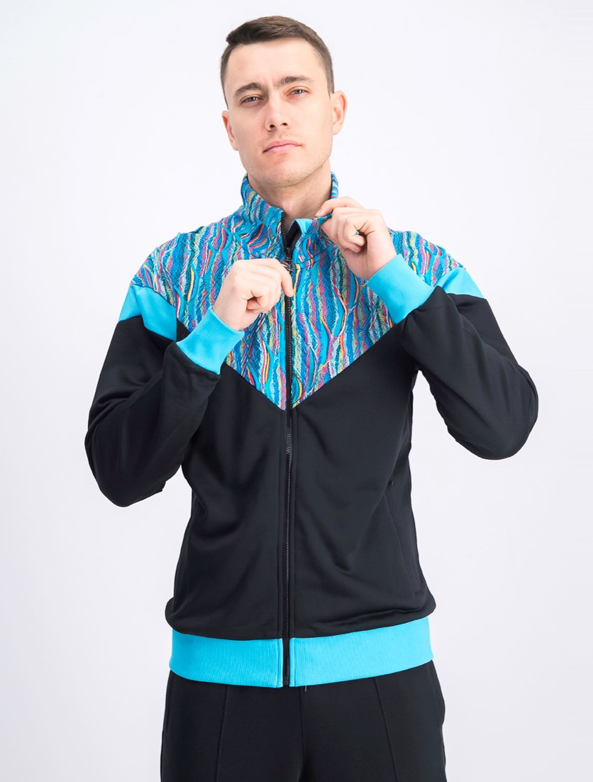 Men's Coogi Track Jacket, Black/Blue Atoll