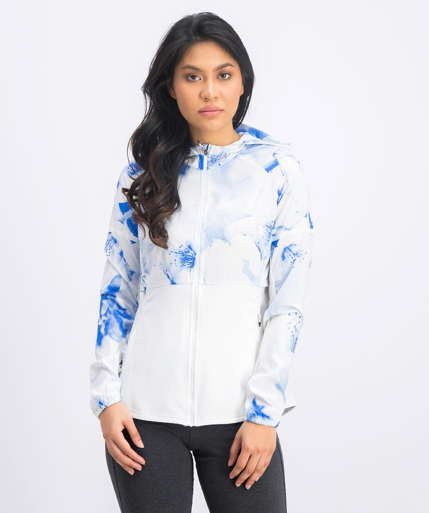 Women's Ultra Graphic Jacket, White/Blue