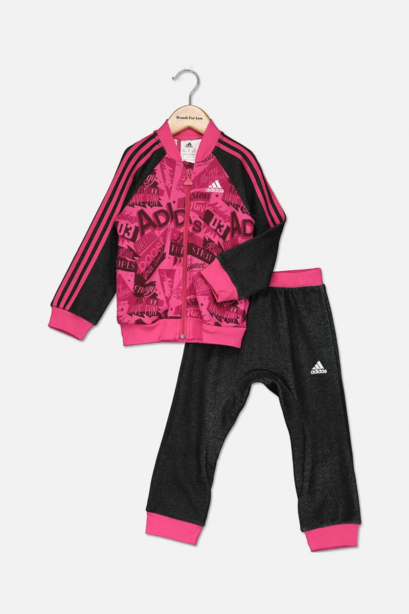 Little Girl's 3 Stripe AOP Jogger Set, Pink/Black