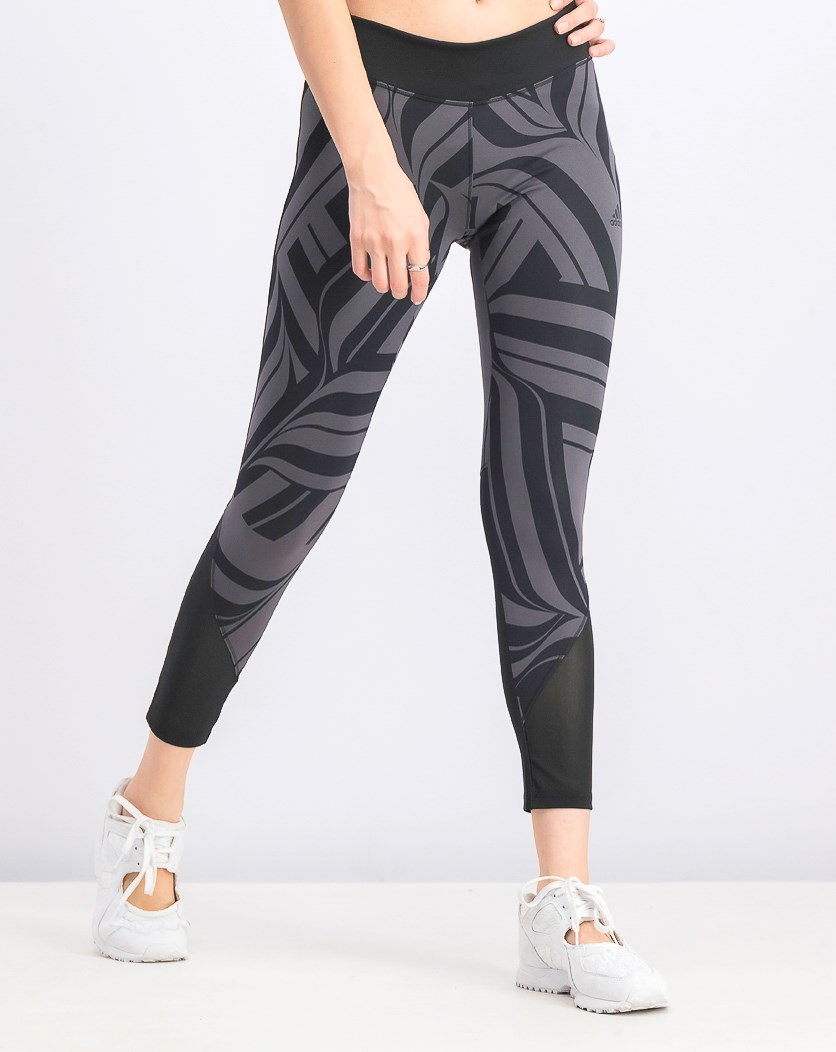 Women's High Rise Printed Leggings, Black/Grey
