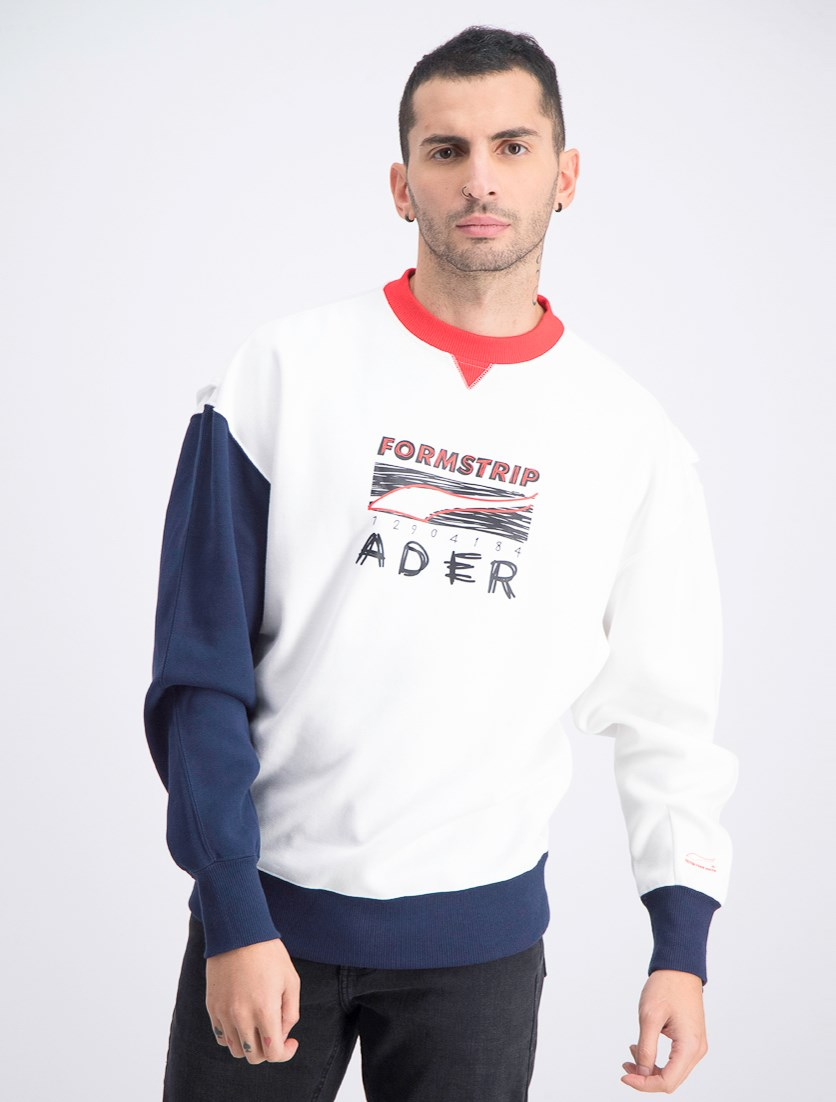 Men's Crew Sweater, White Combo