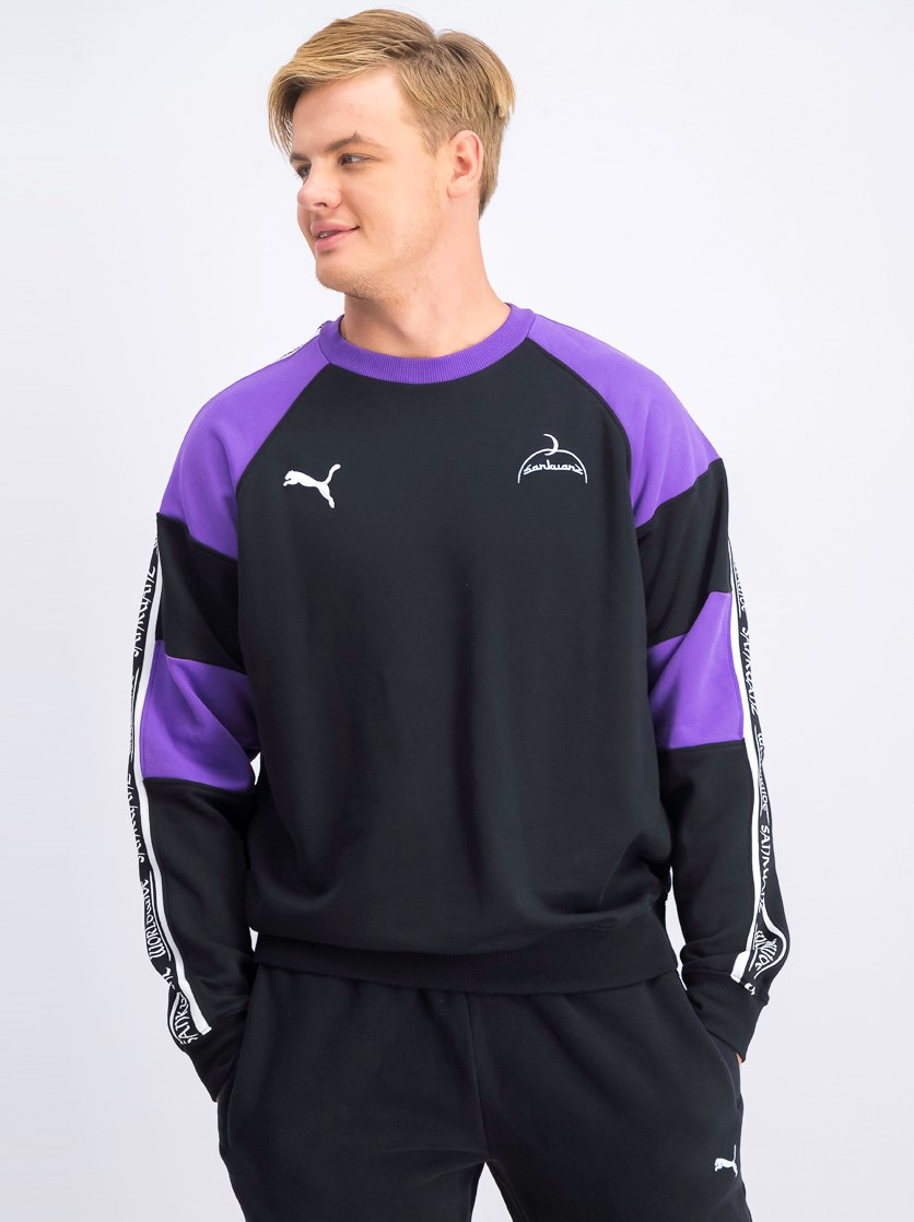 Men's Pullover Long Sleeve Sweater, Black/Purple