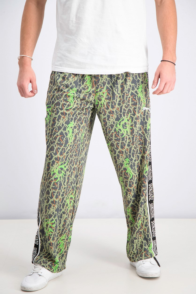 Men's Printed Track Pants, Fluro Green