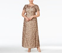 Alex Evenings Women's Plus Size Rosette Lace A-Line Gown, Champagne