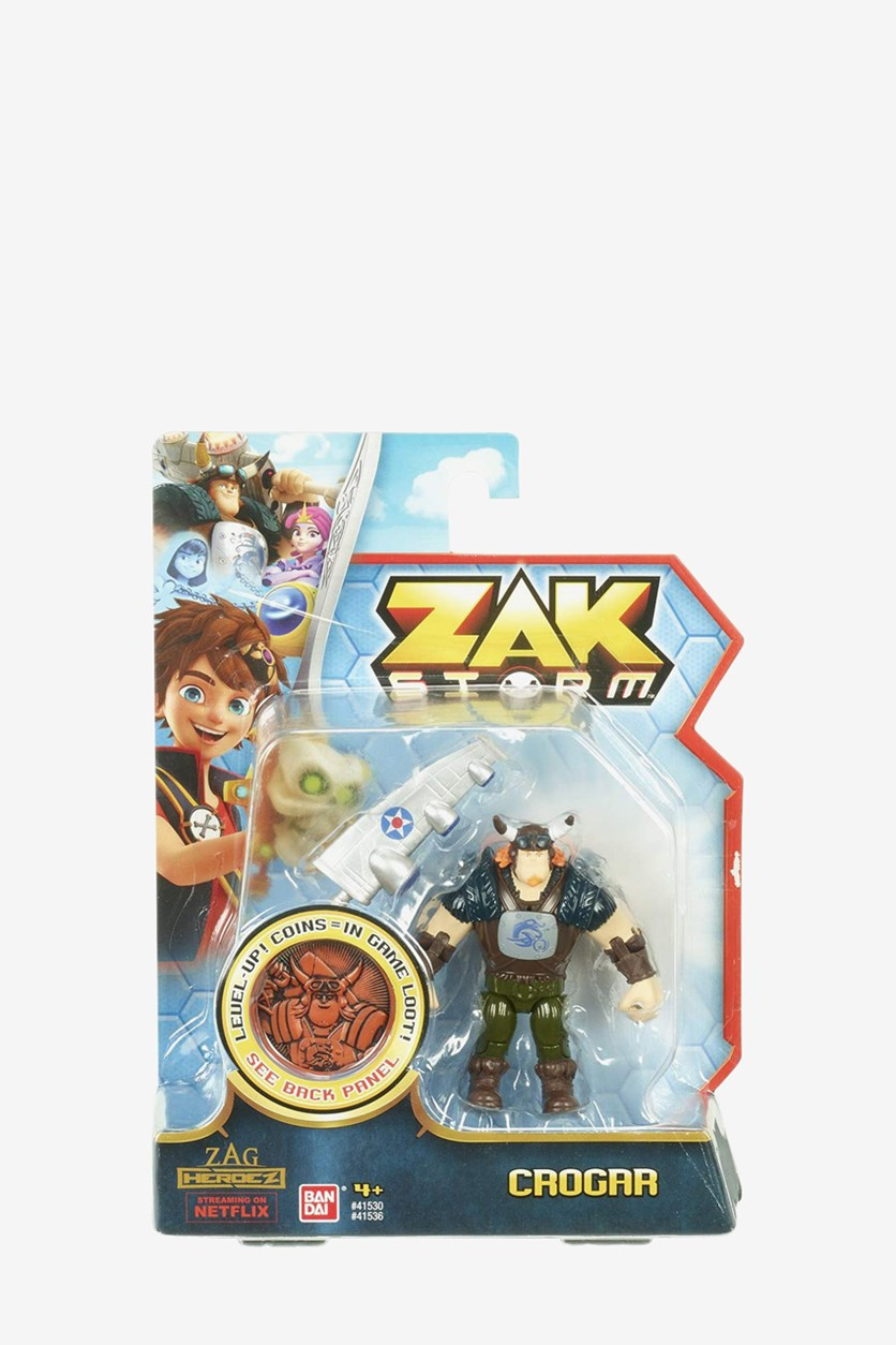 Boy's Zak Storm Crogar Figure with Coin, Gray/Brown Combo