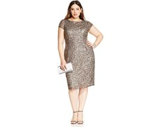 Adrianna Papell Women's Plus Size Sequined Scoop-Back Dress, Grey