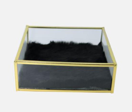 Philip Whitney Metal Glass Tray. Gold/Black