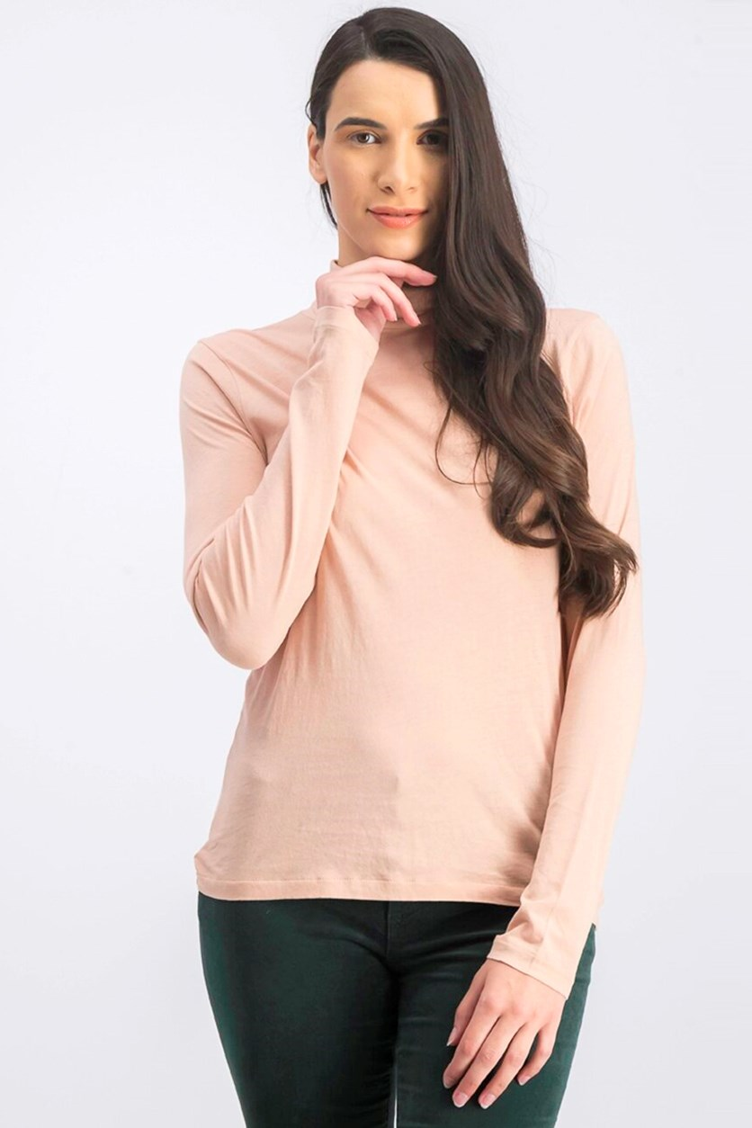 Women's Turtle Neck Long Sleeve Top, Peach