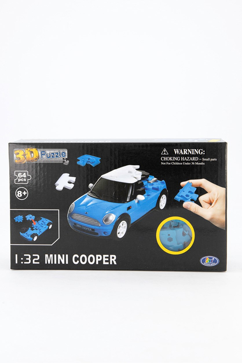 3D Puzzle 1:32 Mini Cooper, Blue/White