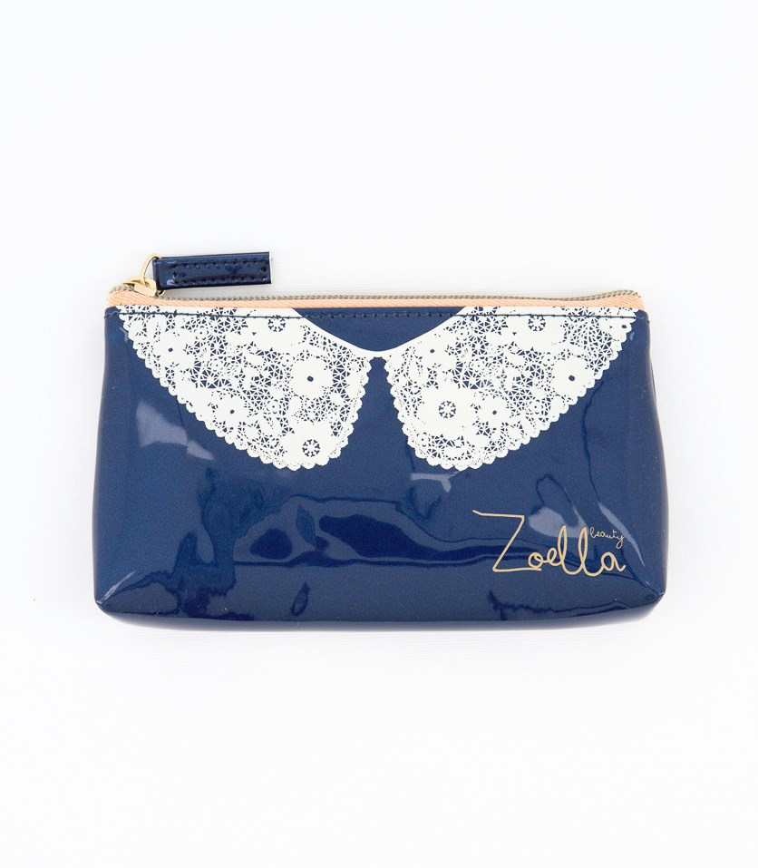Lace Collar Purse, Indigo/White