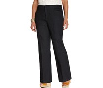 Jm Collection Plus Size Twill Straight-Leg Trousers, Navy