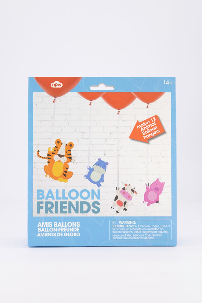 12 Count Hanging Animal Friends Party Balloon, Blue Combo