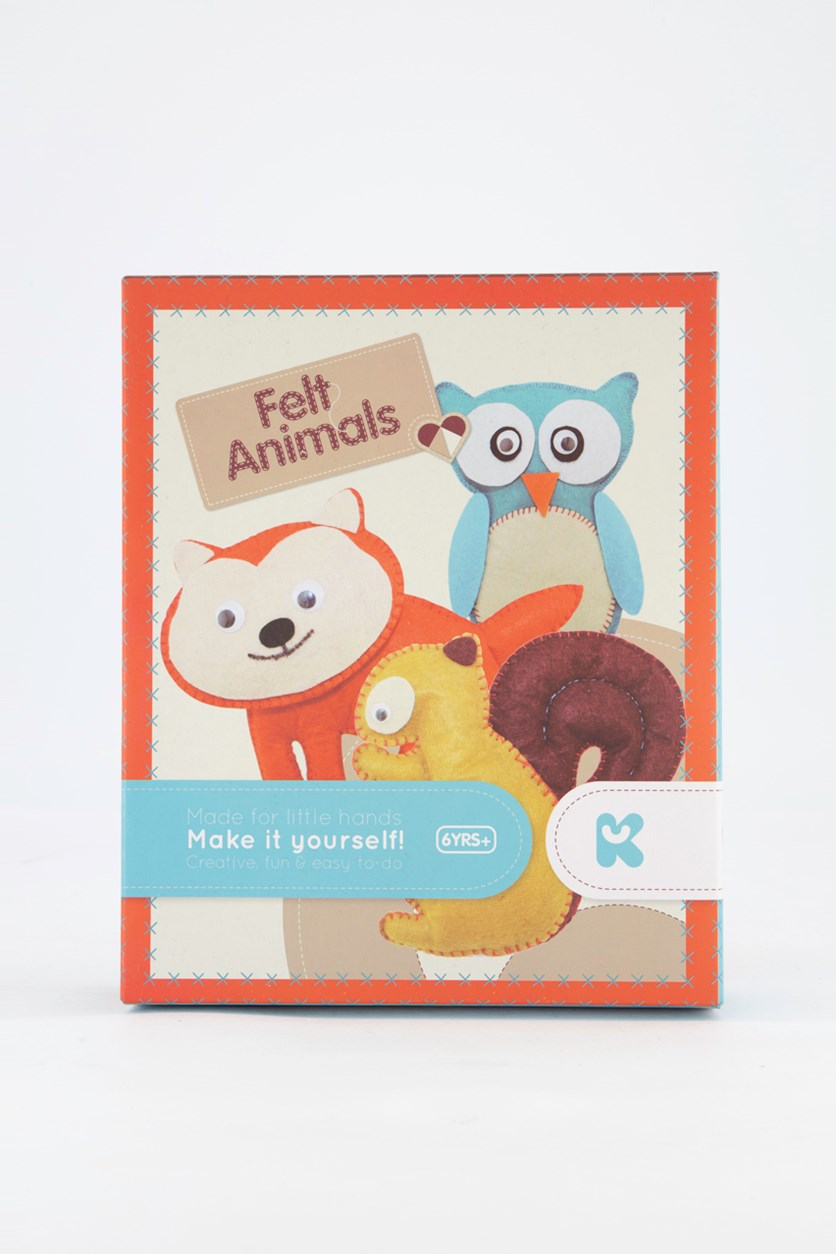 Make Your Own Felt Animals Craft Kit, Maroon/Blue/Yellow