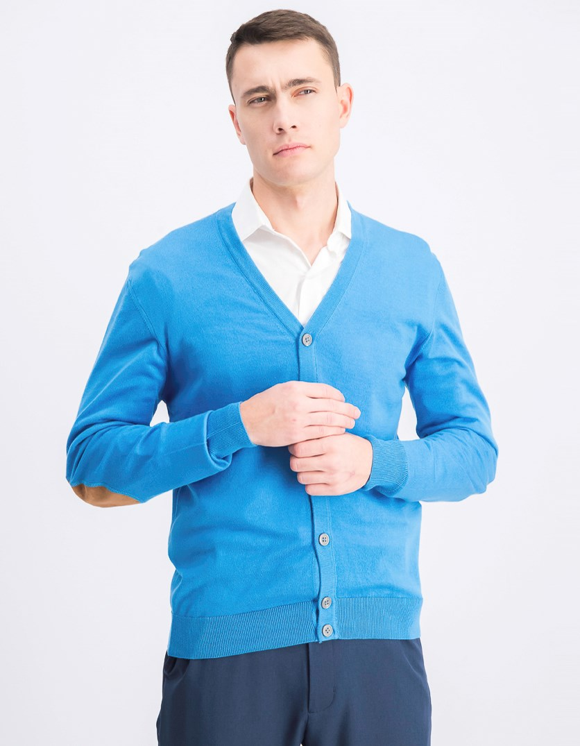 Men's Cardigan, French Blue
