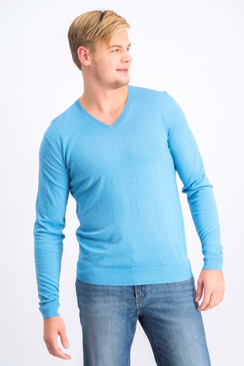 Men's Pullover V Neck Sweater, Light Blue