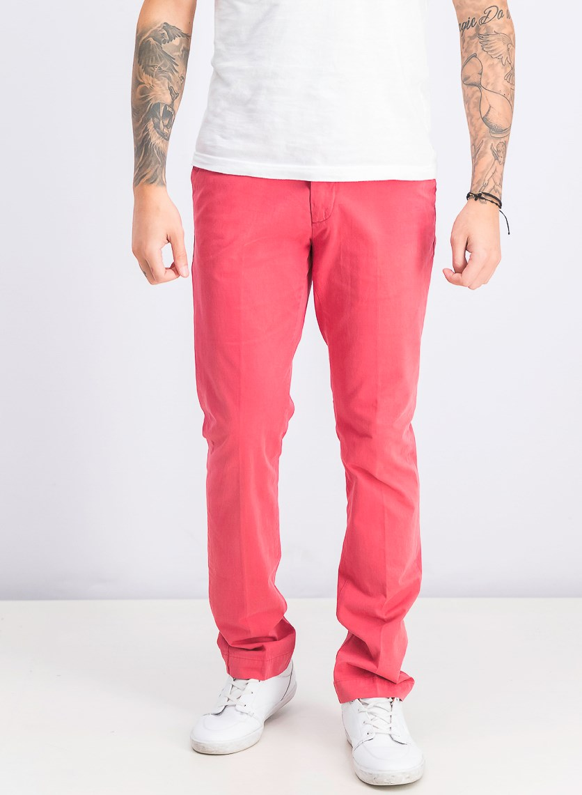 Men's Belt Loops Slim Chino Pants, Pepper Red