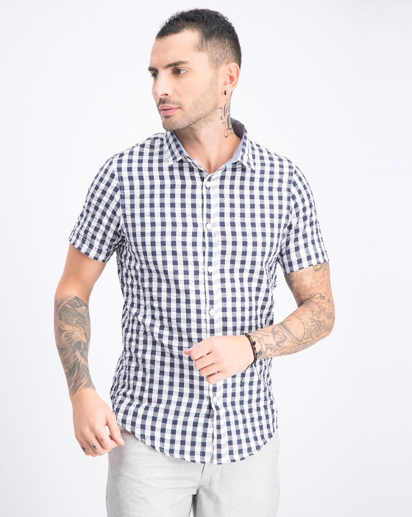 Men's Gingham Short Sleeve Shirt, Navy/White