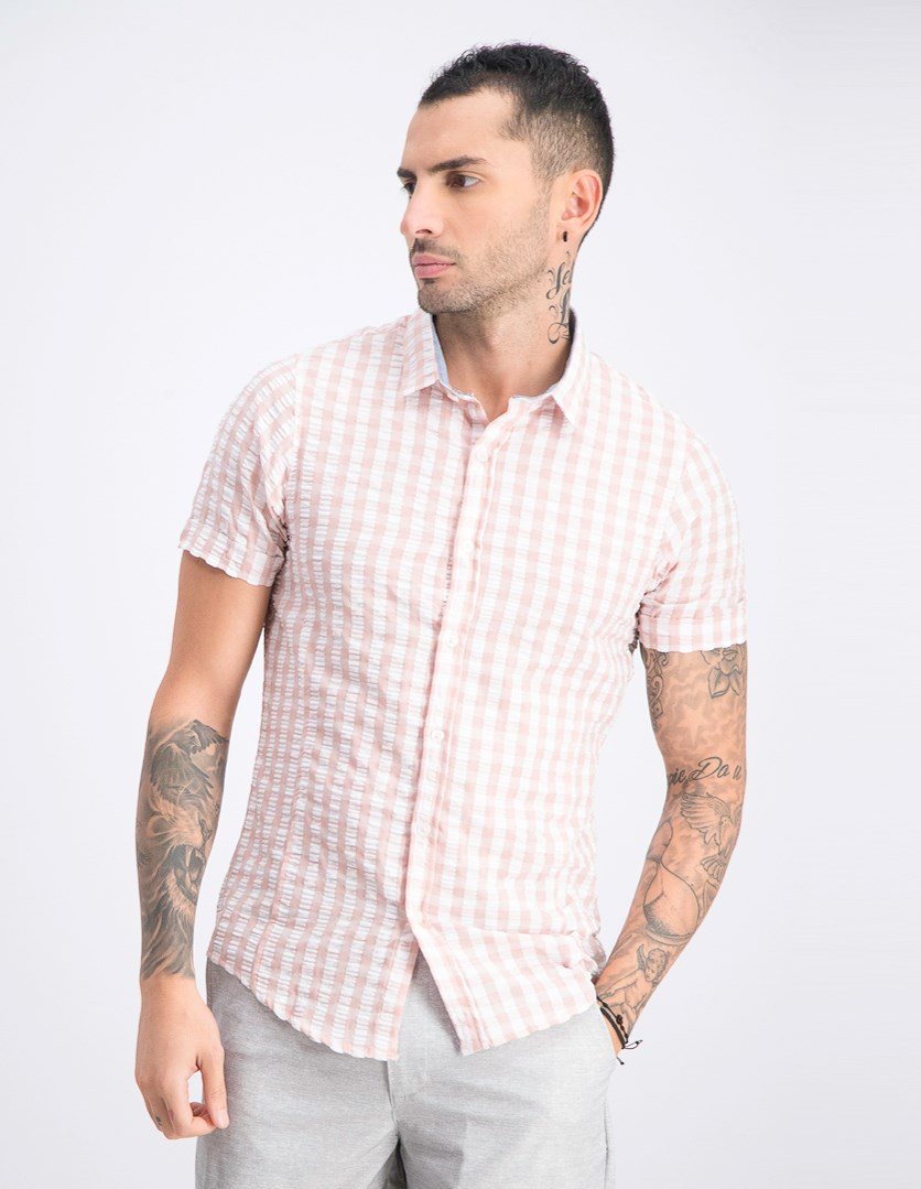 Men's Gingham Short Sleeve Shirt, Dusty Pink/White