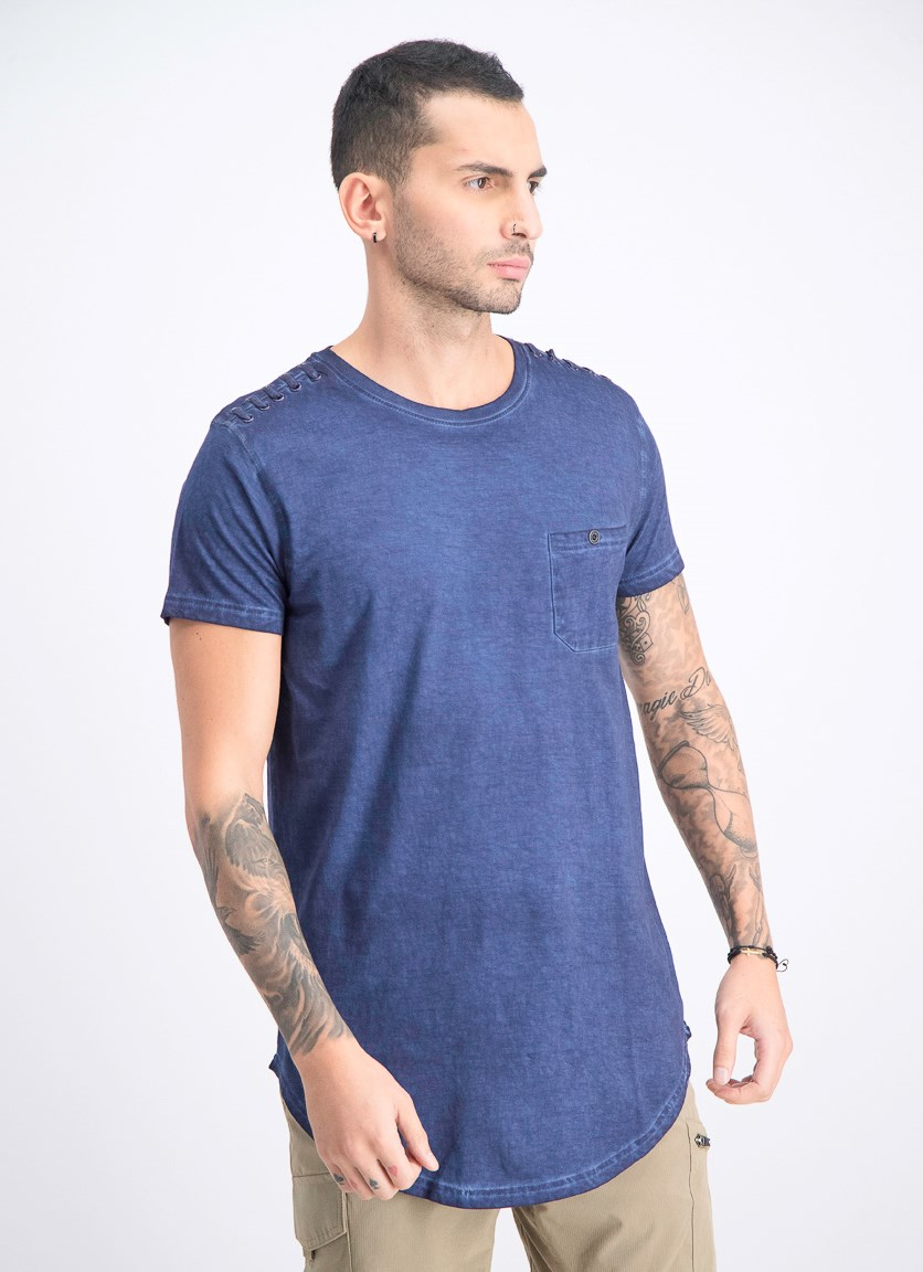 Men's Short Sleeve Washed T-Shirt, Navy Blue