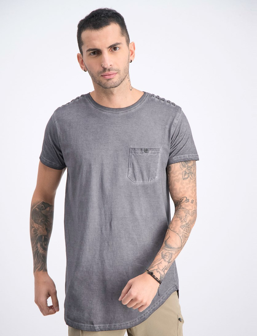Men's Short Sleeve Washed T-Shirt, Grey