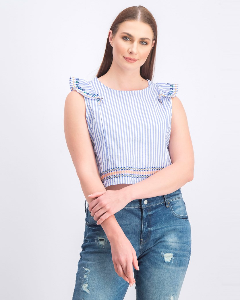 Women's Stripe Ruffled Yarn Stitched Top, Blue Combo
