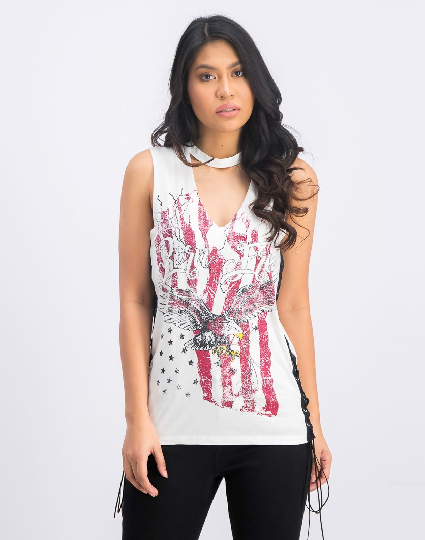 Graphic Printed Chocker Vest With Eyelet Detail, White