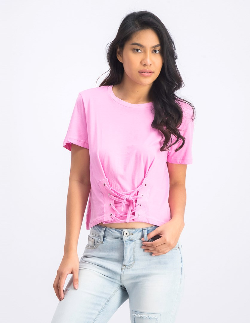 Women's Short Sleeve Top, Flamingo Pink