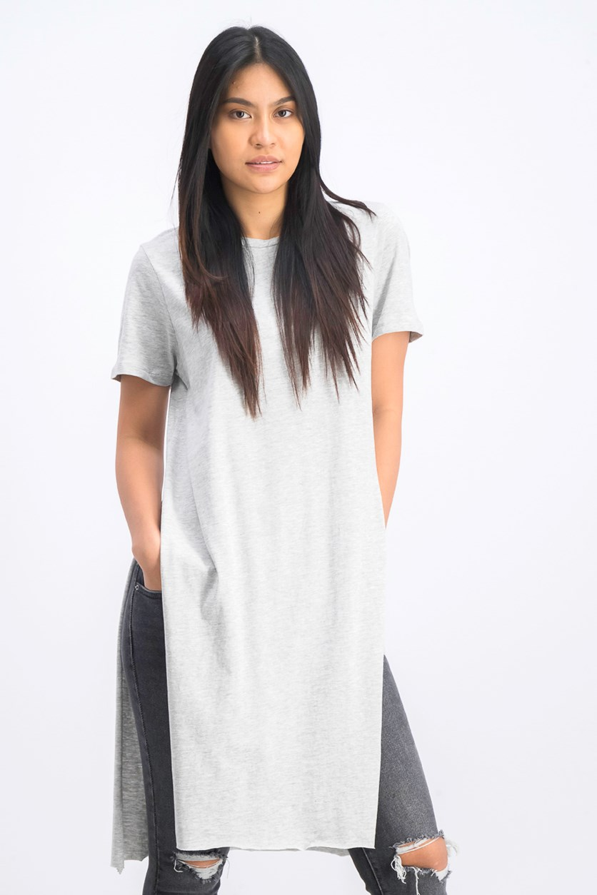 Women's Knot Front Long Line Tee, Pale Heather Grey