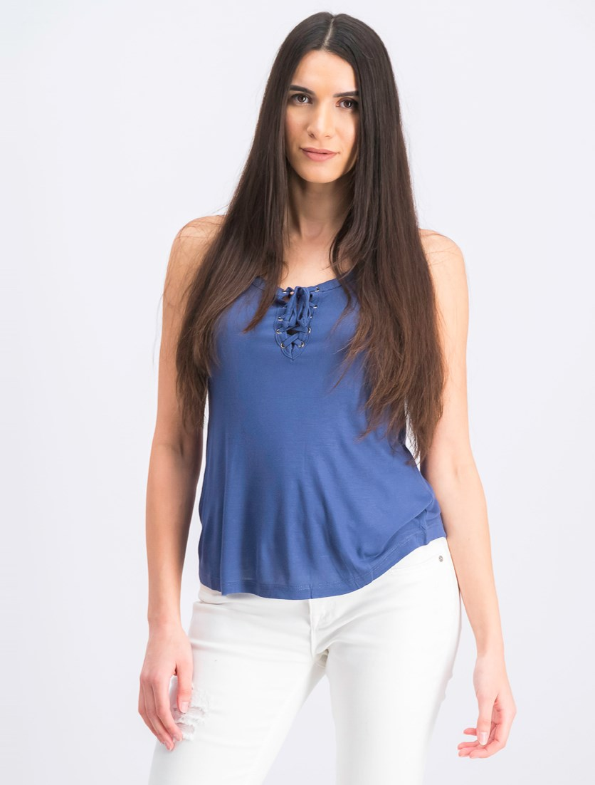 Women's Sleeveless Tie Neck Top, Blue