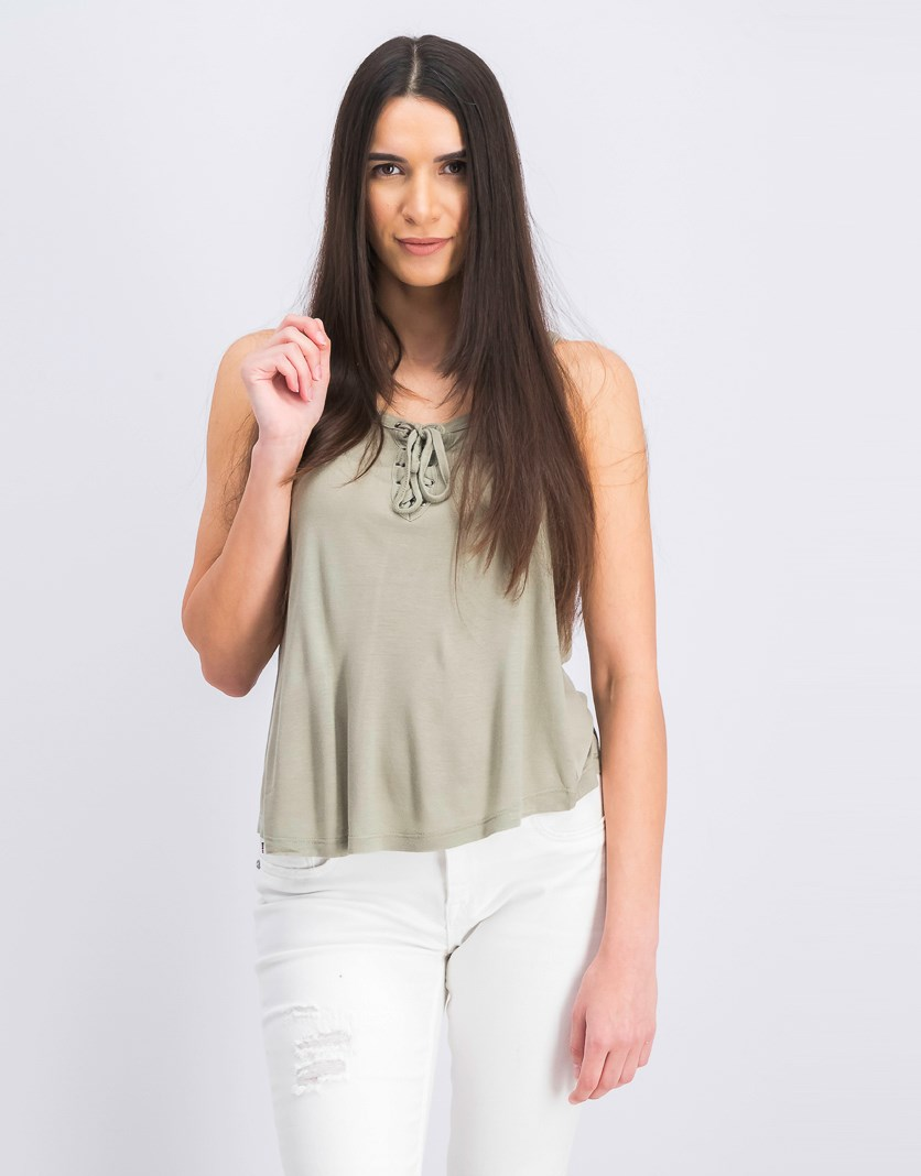 Women's Sleeveless Tie Neck Top, Dusty Green