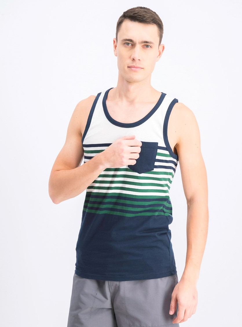 Men's Stripe Vest, White/Navy/Green