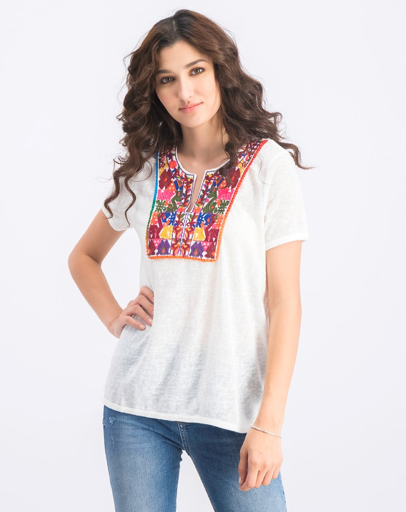 Women's Embroidered Top, White