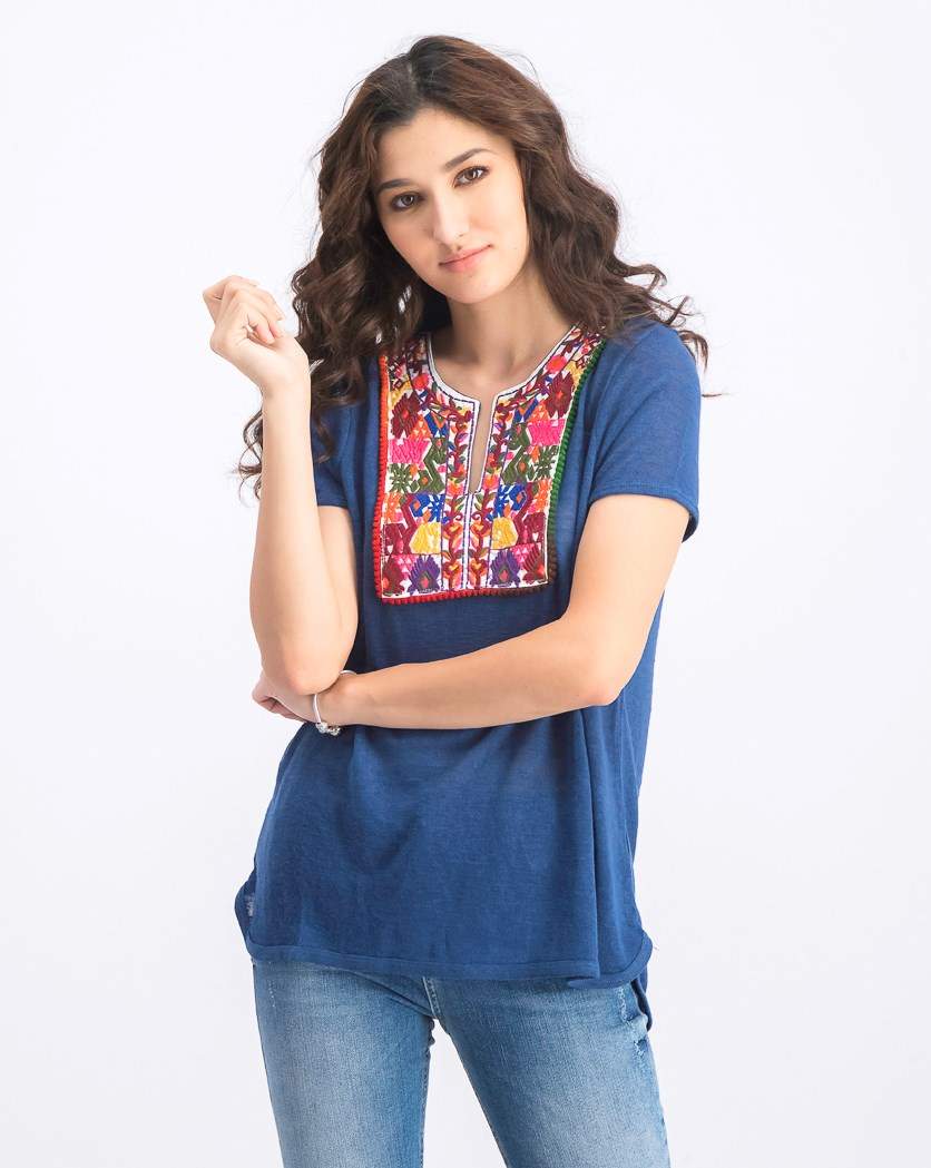 Women's Embroidered Top, Denim Blue