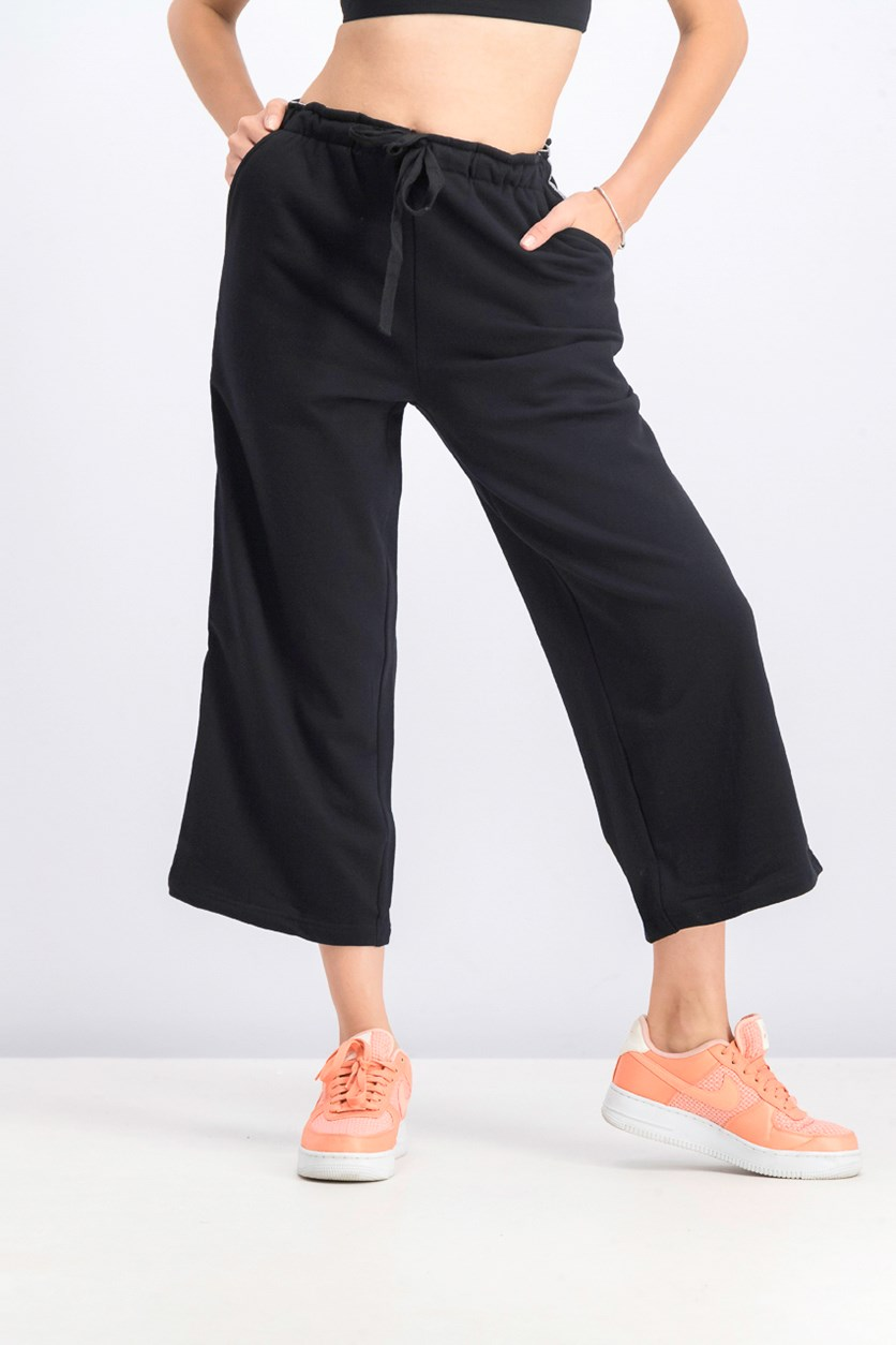 Women's Metallic Side Stripes Pants, Black