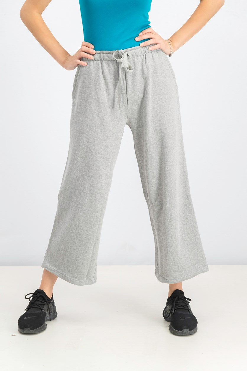 Women's Metallic Side Stripes Pants, Grey Heather