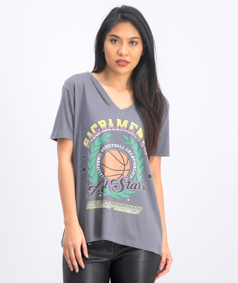 Women's Graphic Printed Rip Neck T-Shirt, Charcoal