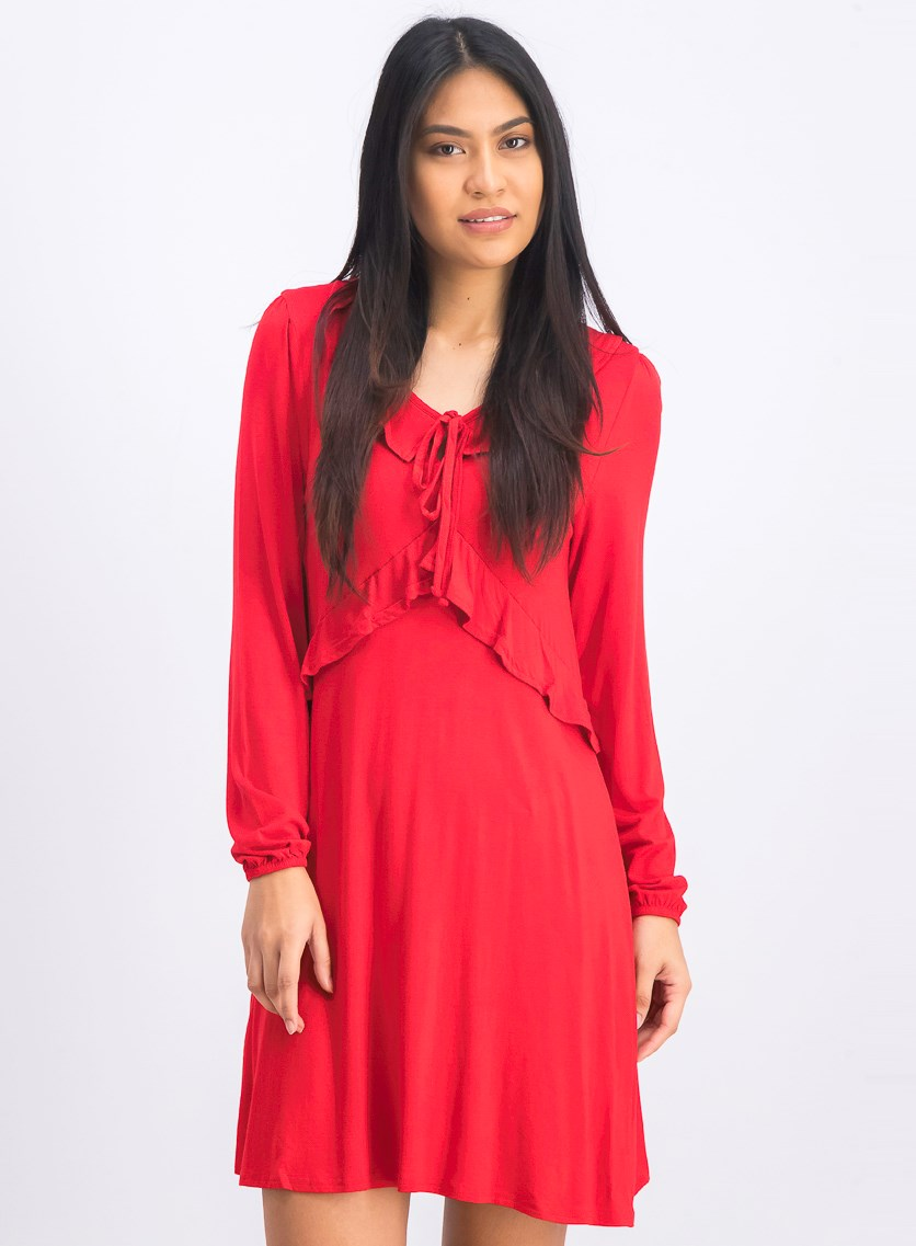 Women's Long Sleeve Dress With Ruffle Detail, Poppy Red