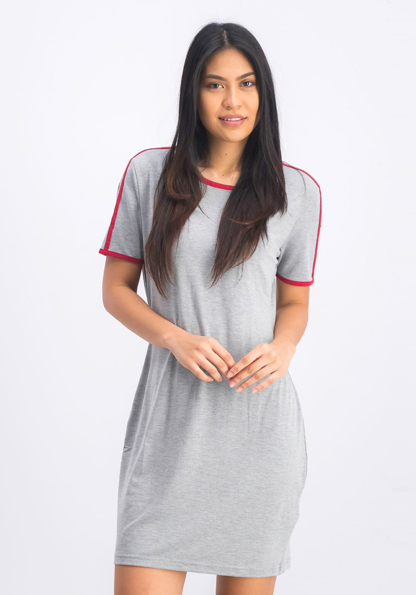 Women's Shirt Dress, Grey Heather/Red